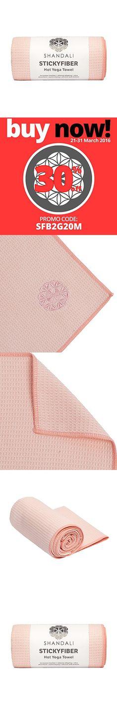 "Hot Yoga Towel - Shandali Stickyfiber Yoga Towel - Mat-Sized, Microfiber, Super Absorbent, Anti-slip, Injury Free, 24"" x 72"" - Best Bikram Yoga Towel - Exercise, Fitness, Pilates, and Yoga Gear; (Sakura Pink, Standard)"