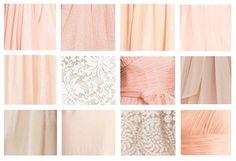 Mismatched peach/neutral bridesmaids dress colors