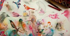 Kleurrijke dromen in aquarel en inkt
