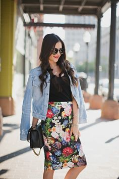 Outfit inspiration - Pair a beautiful floral pencil skirt with a denim jacket.