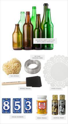 Wine bottle table number DIY. Captured By: Paul Von Rieter #weddingchicks http://www.weddingchicks.com/2014/06/30/dive-bar-chic-diy-wine-bottle-table-numbers/