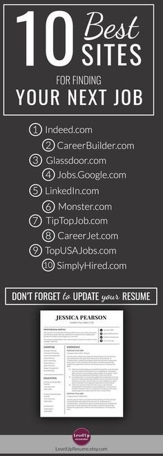 Resume template Minimalist resume professional Design resume templates Modern resume design Cv template marketing Professional resume simple 10 Best Sites for Finding Your Next Job. Job search and Career tips. Job Career, Career Advice, Career Path, Career Sites, Future Career, Career Change, Resume Writing, Writing Tips, Job Search Tips
