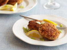 Salmon Croquettes from FoodNetwork.com  Delicious, easy, can substitute onion and crushed saltine crackers.