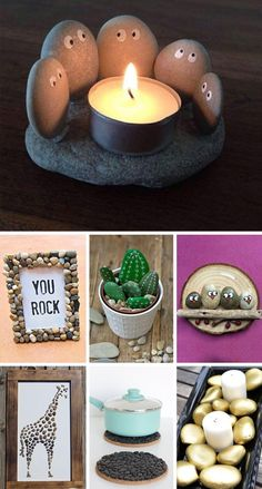DIY with pebbles: simple and perfect DIY ideas for summer!DIY with custom DIY decorative pebbles for outside and insideCustomize your glasses with your poscas! Easy to discover a DIY. Rock Crafts, Diy Crafts To Sell, Easy Crafts, Diy Simple, Easy Diy, Decorative Pebbles, Diy Tumblr, Diy Bebe, Idee Diy