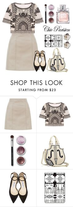 """""""Chic Parisien"""" by queenofspades97 ❤ liked on Polyvore featuring New Look, Temperley London, Bare Escentuals, La Vie en Rose, Jimmy Choo and Casetify"""