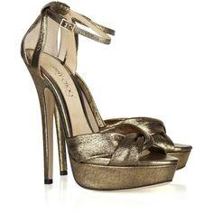 Jimmy Choo Greta lamé-covered suede sandals via Polyvore