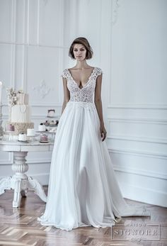 maison signore 2018 bridal cap sleeves deep v neck heavily embellished romantic sexy pastel blue soft a  line wedding dress chapel train (duchessa) mv fv -- Maison Signore's Stunning 2018 Wedding Dresses