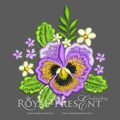 Machine Embroidery Design - Pansies #1