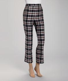 Look what I found on #zulily! Rafael Black & Pink Plaid Silk Crop Pants by Rafael #zulilyfinds