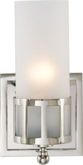 """OPENWORK SINGLE WALL SCONCE CHROME, STUDIO DESINGER, FROSTED GLASS, 9H, 4 3/4W, 5""""EXT 60W"""