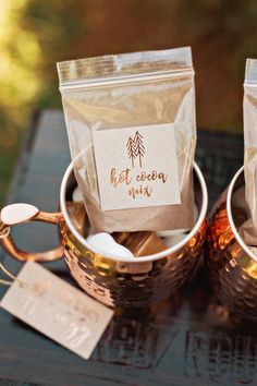 Wedding Favor Idea Custom copper foil hot cocoa mix | Winter Christmas Tree Farm Elopement | Amilia Photography | Nashville Wedding Photographer