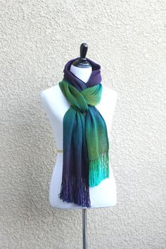 <p>Hand woven long scarf with gradually changing colors from green to purple. Amazing color shades and color variety. Unfortunately, I can't show it perfectly on photos.</p... #kgthreads #peacock