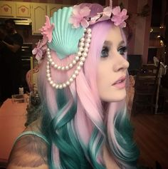 Pink and green hair from Kelly Eden on tumblr