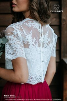 Belle Buttoned back Bridesmaids Lace Crop Top available in Plus Size with Silk Under top - 2 pieces set White Lace Crop Top, Lace Crop Tops, Cropped Tops, Wedding Crop Top, Top Y Pollera, Lace Bridal, Bridesmaid Separates, Bridesmaid Skirts, Crop Top Dress