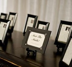"Your wedding day is all about you & your hubby, but it's important to give some much-deserved kudos to your bridal party, too! Our fave idea? A ""Meet the 'Maids"" table! Dish up the details of how you met and why your girls are so fab in a short bio accompanied by a head shot & frame 'em. Would you do this?"