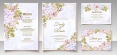 Premium Vector | Elegant floral template wedding card Wedding Invitation Card Template, Vintage Wedding Invitations, Watercolor Wedding Invitations, Wedding Frames, Wedding Cards, Blue Floral Wallpaper, Hand Drawn Flowers, Blooming Rose, Floral Watercolor