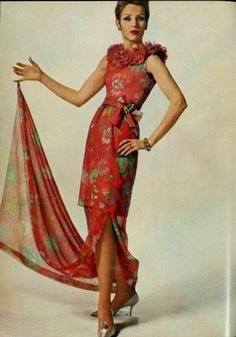 Nina Ricci Gown - 1963 fashion style vintage red dress floral sheer gown train hand ring 60s designer