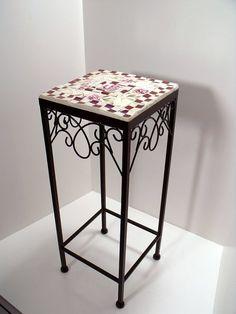 Mesa de Patio de mosaico / planta soporte de por pinetreemosaics
