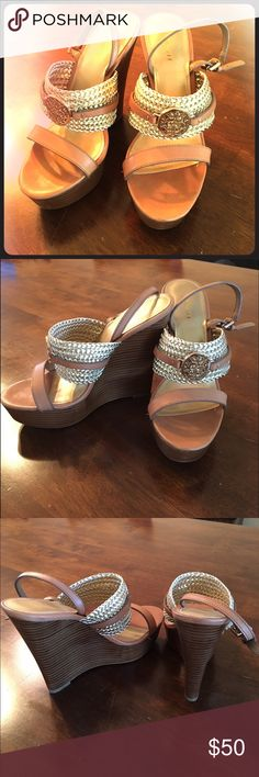 Coach wedge sandals! Stunning Coach wedge sandals with gold accents! Have been worn a few times, so the bottoms are slightly worn, as shown in picture. Coach Shoes Wedges