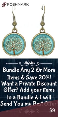 """🆕Tree of Life Vintage Bronze Drop Earrings! New, Handmade by Me! Approx 12mm Of 1/2"""" Diameter Round Glass Cabochon Pendant; 38mm Or 1.5"""" Total Length; Weight 10g; Blue Tree Of Life on Vintage Bronze Hook Style Back!  〰️Drop Earrings are NOT Part of 3-$15 • Nickel, Lead & Cadmium Free  *NO TRADES *Price is FIRM as Listed!  *Sales are Final-Please Read Descriptions! gallery_of_gems Jewelry Earrings"""
