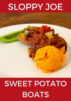 "Sloppy Joe Sweet Potato Boats - This recipe is bound to be a huge hit with even the pickiest eaters. You won't miss the traditional white bread once you taste the combination of sweet potato, raw honey, and familiar ""Sloppy Joe"" spices. Potato Boats, Beyond Diet Recipes, Clean Eating, Healthy Eating, Healthy Sides, Kid Friendly Meals, Sloppy Joe, Sweet Potato, Meal Prep"