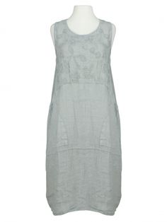 Damen Kleid Leinen bestickt, grau von Spaziodonna bei www.meinkleidchen.de