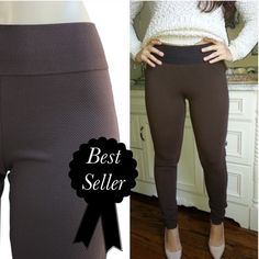 """SALE $25Brown Ponte knit textured pants These  pants are amazing!! Brown Wide stretch waistband. Textured material. Pull on style. Soft and comfy. Mid rise. 65% polyester 35% cotton. Inseam is 30"""".    . S: waist stretches to 24"""". M: waist stretches to 28"""". ☀️15% off bundles for new buyers. ☀️25% off bundles for frequent buyers CupofTea Pants Skinny"""