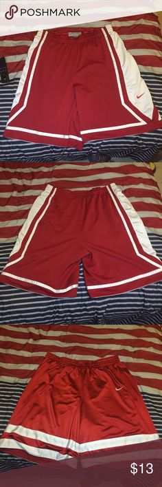 Nike reversible red athletic shorts -reversible -no pockets -light stains on the white of one side of the shorts, but the other side has none -drawstring -no size marked, but if I had to guess it would be an XL - taking offers Nike Shorts Athletic