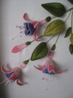 I ❤ stumpwork embroidery . . . Stumpwork Fushias. 002- Close-up of fushias worked in DMC stranded cottons. ~By Lynette Hale