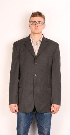 Pierre Cardin Mens 44 M Blazer Jacket Wool Grey