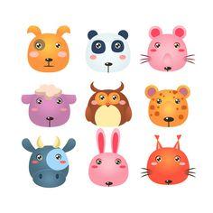 Set of Cartoon Animal Head Icons @creativework247