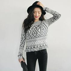Womens Geometric Tribal Aztec Long Sleeve Knitted Cardigan Sweater Tops Pullover #Unbrand #Crewneck