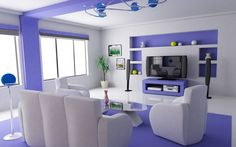 Decorating, Funky Ideas For Modern Interior Design With Blue Accent Wall And Black LCD TV Stand For Entertainment Unit: What Does The Future of Modern Interior Design Have in Store?