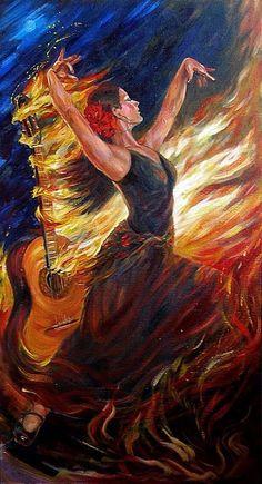 Flamenco Arte Latina, Dance Paintings, Indian Paintings, Spanish Art, Prophetic Art, Mexican Art, Art Music, Love Art, Oeuvre D'art