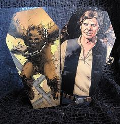 Star Wars Han Solo and Chewbacca Comic Coffin Han Solo And Chewbacca, Star Wars Han Solo, Coffin, Handmade Items, Comics, Stars, Products, Sterne, Cartoons