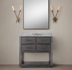 La Salle Metal-Wrapped Washstand Bath Collection | Restoration Hardware