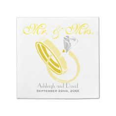 Wedding Rings Personalized Wedding Standard Cocktail Napkin