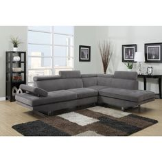 Gray Textured Sateen Sectional - Overstock™ Shopping - Big Discounts on Sectional Sofas