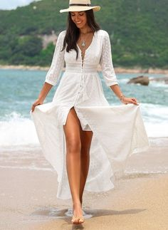 color : White - Size : (S (M (L (XL (XXL Cotton - Boho, Arabian - Solid - Embroidery - Round Neckline - Sleeves - Maxi - X-line Dress - Vacation Dresses - Spring, Summer Dresses For Sale, Nice Dresses, Ladies Dresses, Dresses Dresses, Long Dresses, Dresses Online, Women's Fashion Dresses, Boho Fashion, Fashion Trends