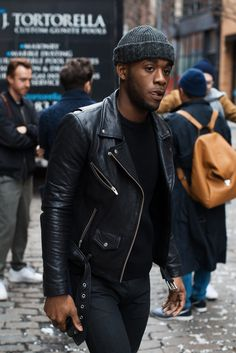 http://chicerman.com  billy-george:  Black leather feels  Photo via Men in this Town  #streetstyleformen
