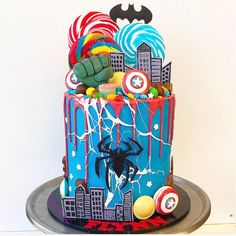 Spiderman Cake Ideas for Little Super Heroes - Novelty Birthday Cakes Birthday Drip Cake, 4th Birthday Cakes, Novelty Birthday Cakes, Novelty Cakes, Boy Birthday, Birthday Ideas, Avengers Birthday Cakes, Superhero Birthday Cake, Drip Cakes