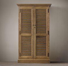 RH | Shutter Single Armoire | Weathered Oak