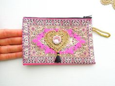 Pink kilim coin purse - Hot pink rug pouch with zip - Oyster card, bus pass pouch - Small boho purse - Kilim purse - Boho summer accessories by BrightonBabe on Etsy