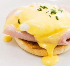 Seriously easy hollandaise sauce. - Add 5 egg yolks to blender. Add ¼ cup lemon juice, ¼ tsp salt to yolks. Melt ¼ cup butter in saucepan. When melted, turn blender on low, slowly adding melted butter. Sloooooowly. That's the key. Blend till creamy:)