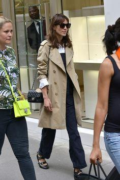 Alexa Chung trench coat 3 strap ballet flats