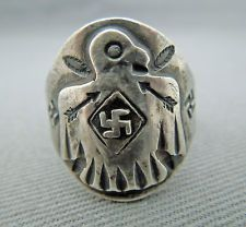 Fred Harvey Era Silver Ring with Thunderbird and Whirling Logs