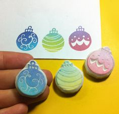 Christmas ornament rubber Stamp choose 1 only by theKeris on Etsy, $6.00
