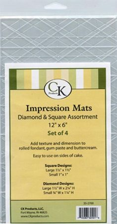 Impression Mats -Diamonds & Squares- CK Products 4pc Cake Decorating Supplies #ckproducts