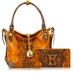Marino Orlandi Italian Designer Cognac Alligator Leather Crossbody Bag & Wallet
