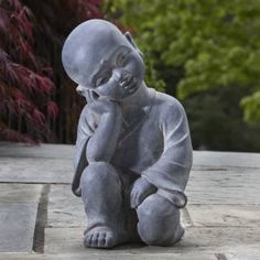 Check out the Alfresco Home 61-7206 Thinking Buddha Statue in Antique Stone priced at $72.00 at Homeclick.com.